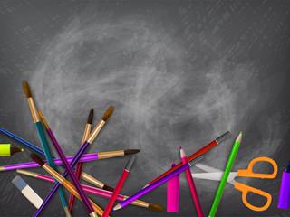 School supplies on blackboard. plus EPS10