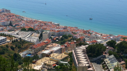 Panoramic View of Resort Town, Mountains and Beach, Portugal