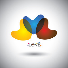 abstract transparent heart & love icons - concept vector graphic