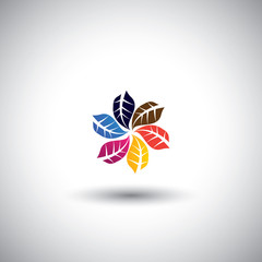 colorful leaves icons in circle - eco concept vector