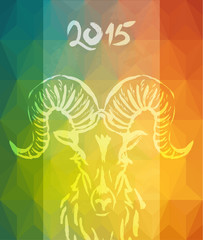 Chinese new Year of the Goat 2015 colorful card