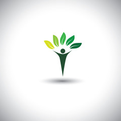 people & nature balance - eco lifestyle concept vector icon.