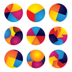 colorful abstract circles vector icons of design elements.