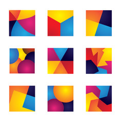 colorful squares with divisions vector icons of design elements.