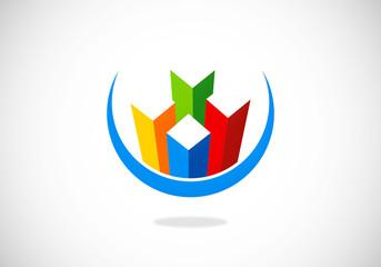 box tech building vector logo