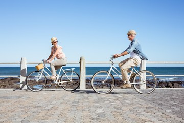 Happy casual couple going for a bike ride on the pier