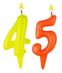 Birthday candles number forty five isolated on white background