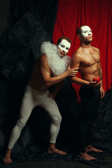 Homage to Paul Cezanne's Pierrot & Harlequin. Two mimes