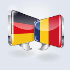 Sprechblasen in deutsch und rumänisch