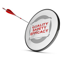 Concept image of quality, saferty and efficacy