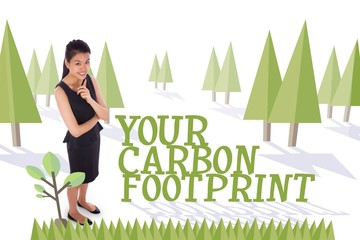 Your carbon footprint against forest with trees