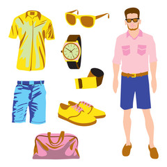 Hipster character pack for geek boy accessory clothing vector