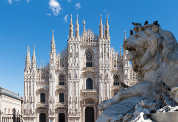 Duomo of Milan,Italy.Cathedral with lion statue.Travel landmark.