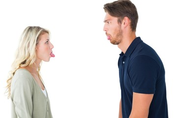 Childish couple having an argument