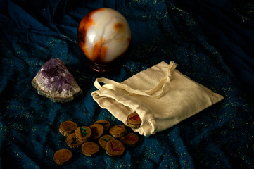 divination runes amethyst and crystal ball
