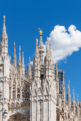 Duomo of Milan, Italy. Cathedral. Travel landmark.Close up