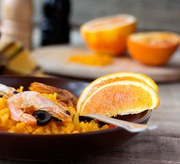 Tradition Seafood Spanish Paella in ceramic dish