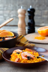 Tradition Seafood Spanish Paella in ceramic dish