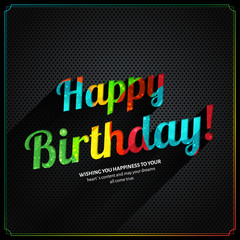 Vector retro birthday card, with colorful birthday text on metal