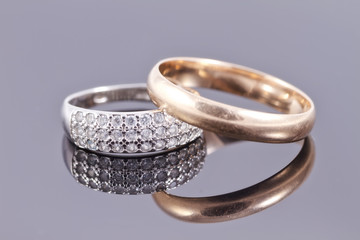 Wedding rings : gold and silver with precious stones