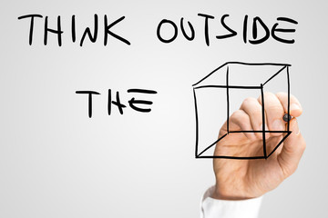 Creative message urging to think outside the box