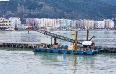 barge in the port of Valona - Albania