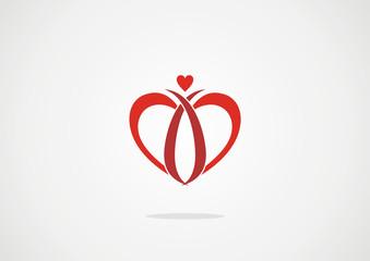 Heart inside - love vector logo design template. Happy