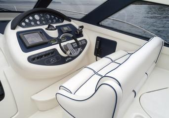 Italy, Baia, Aqua luxury yacht, cockpit, driving consolle