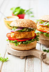 Fish and crab burgers