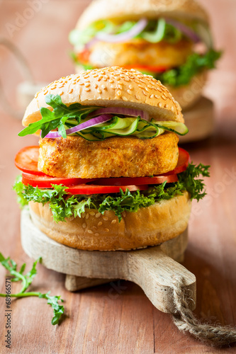 canvas print picture Fish and crab burgers