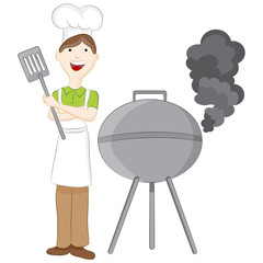 Man at Barbeque Grill