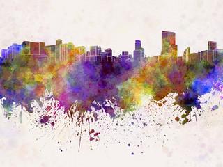 Orlando skyline in watercolor background