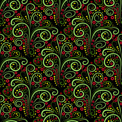 Abstract seamless floral curl pattern. Illustration