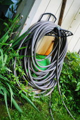 A Coiled Garden Hose Ready to Use
