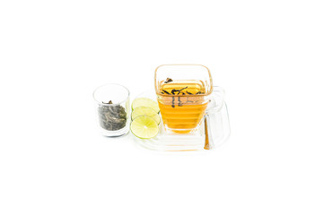 Glass cup with tea