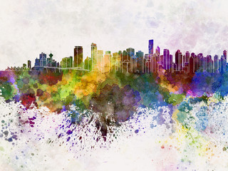 Vancouver skyline in watercolor background