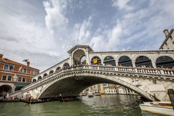 low view to Rialto bridge in Venezia