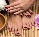 Fototapety Pedicure and manicure in the salon spa