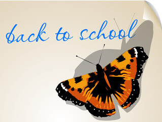 back to school. background with butterfly