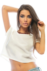 Fashion model brunette woman with beautiful lips and long hair