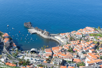 Aerial view harbor of Camara do Lobos at Madeira, Portugal