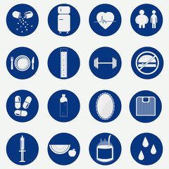 Monochromatic circular icons of health