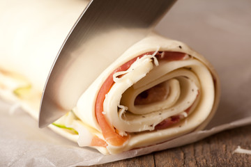 macro picture of puff pastry roll