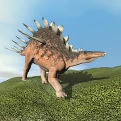 Kentrosaurus dinosaur roaring - 3D render