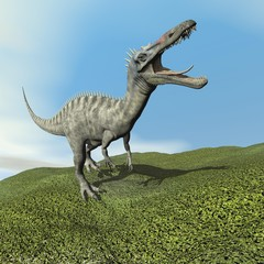 Suchomimus dinosaur roaring - 3D render