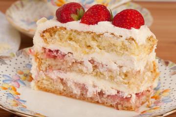 slice of strawberry and mascarpone cake
