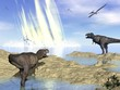 Leinwanddruck Bild - End of dinosaurs due to meteorite impact in Yucatan, Mexico - 3D