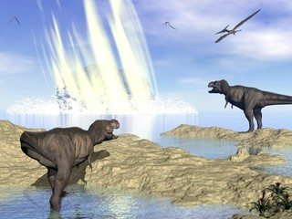 End of dinosaurs due to meteorite impact in Yucatan, Mexico - 3D