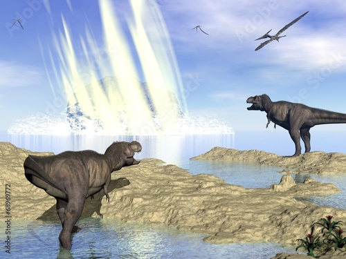 Leinwanddruck Bild End of dinosaurs due to meteorite impact in Yucatan, Mexico - 3D