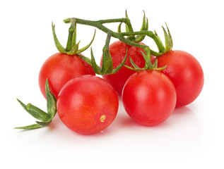 ripe cherry tomatoes isolated on the white background